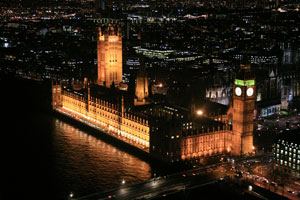 night view of Parliament House, London, England