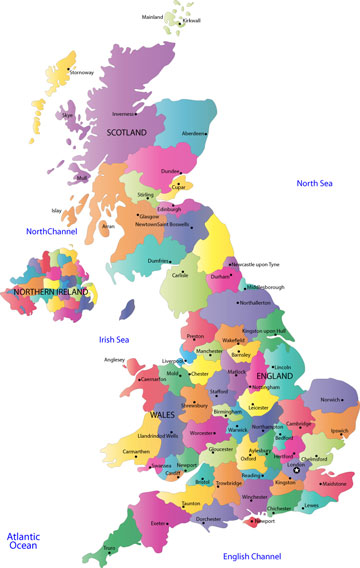UK map, showing counties and county towns